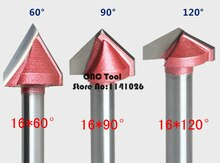 Alta Qualidade 1 PCS 16mm 60/90/120/150 grau 3D Madeira Fazer Router Gravura V Sulco Bit Router Para Trabalhar Madeira cortador