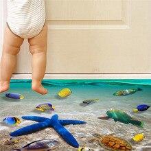 Boden/Wand Aufkleber 3D Ozean Welt Thema Tapete/Geschenke für Kinder Strand Landschaft Kindergarten Aufkleber DIY Abnehmbare Großhandel 30M19