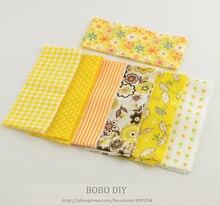 Bandes en tissu à coudre jaune   En rouleau de gelée, ensembles en tissu à coudre de couleur jaune, vêtements de poupée piquants, bandes à carreaux et fleurs 7 pièces/lot