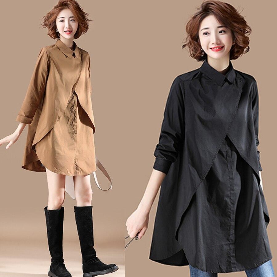 بلوزة سوداء فضفاضة بأكمام طويلة ، ملابس مكتبية ، مقاس Xxl ، مجموعة خريف 2018 الجديدة