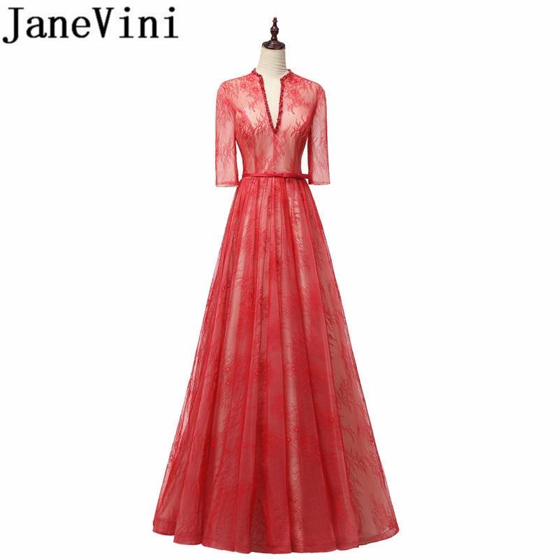 JaneVini-Vestidos de Noche largos de encaje con mangas, línea A, cuello en...