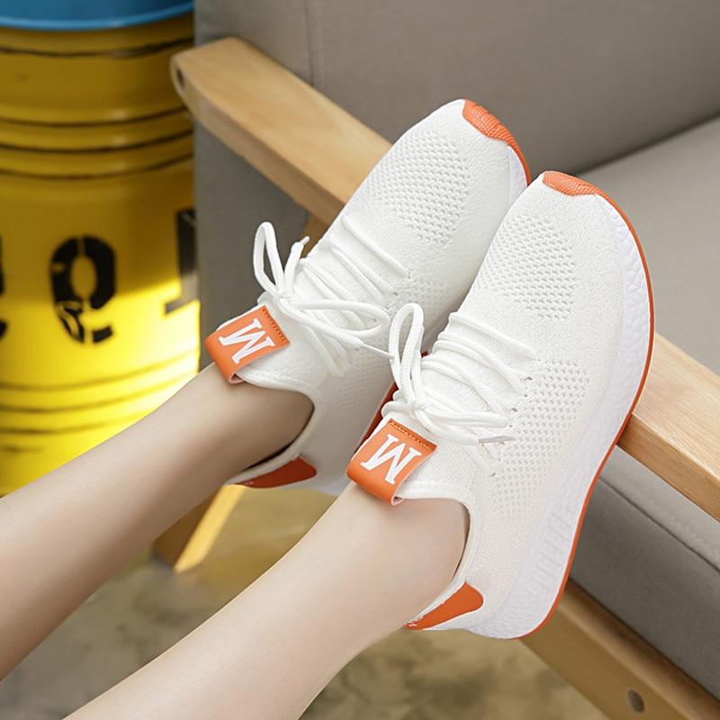 Verano fitness zapatos de mujer zapatos de ocio zapatos de zapatos volar transpirable tejido de malla de pequeños zapatos blancos