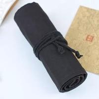 Handmade cloth curtain pen pencil 36/48/72 hole color pencil pen bag pen curtain large capacity volumes of pure black canvas