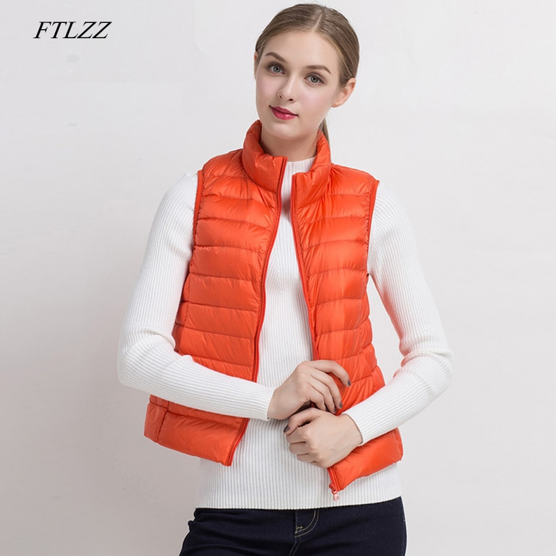 FTLZZ Women Ultra Light 90% White Duck Down Vests Short Coat Spring Windproof Warm Waistcoat Female Slim Sleeveless Jacket