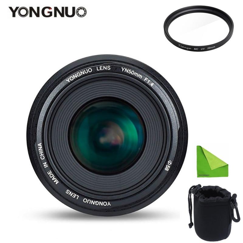 YONGNUO YN50mm 50 مللي متر F1.4 القياسية رئيس عدسة فتحة كبيرة السيارات التركيز عدسة لكانون EOS 6D 70D 5D2 5D3 600D 60D DSLR كاميرا