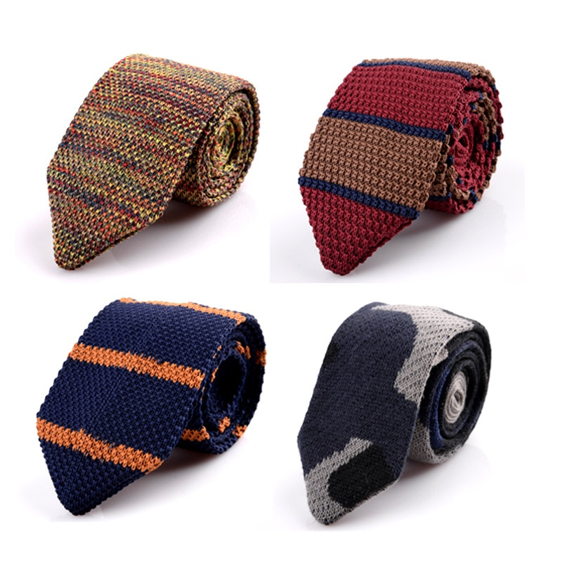 ¡Novedad! corbatas triangulares de punto de ocio a rayas para hombre, corbatas con esquinas afiladas normales, corbatas tejidas clásicas para hombre, corbata de diseño