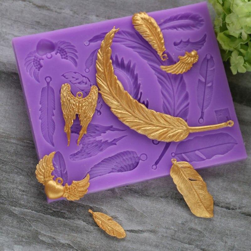 Molde de silicona de pluma, molde de Fondant, herramientas de decoración de pasteles, moldes para Chocolate y goma comestible, Sugarcraft, accesorios de cocina
