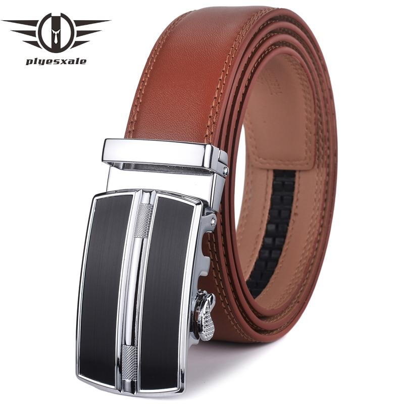 Cinturón de hombre Plyesxale, negro, marrón, rojo, azul, 2018, cinturones de cuero de vaca de calidad alta para hombres, cinturones de diseñador con hebilla automática para hombres G33