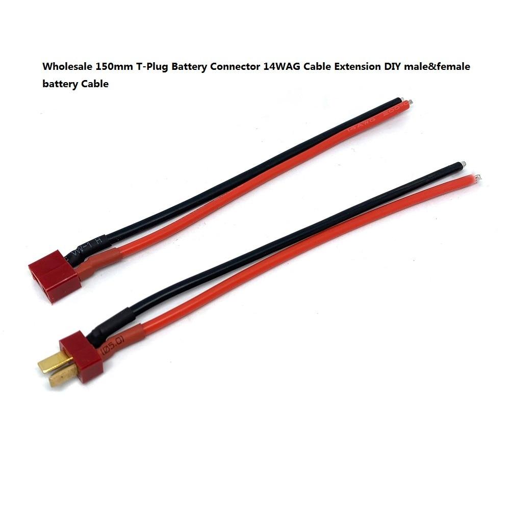 Venta al por mayor 150mm T enchufe conector de batería 14WAG Cable...