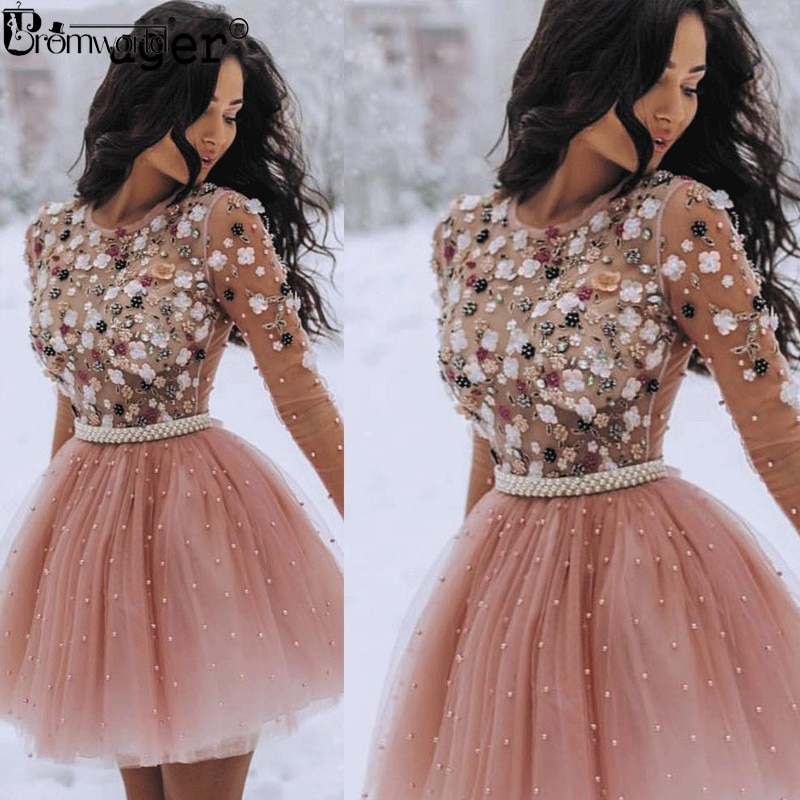 2020 Vestidos de Fiesta Cortos perlas con cuentas flor hecha a mano mangas largas vestidos de fiesta vestido de cóctel