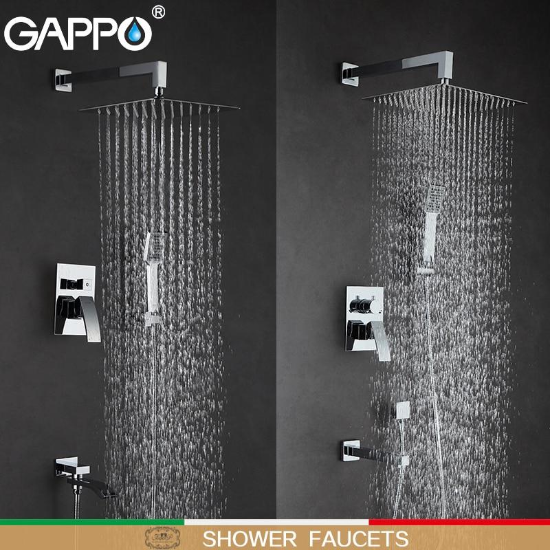 GAPPO-حنفيات دش الحمام ، خلاط حوض الاستحمام ، مجموعة دش المطر ، نظام دش مثبت على الحائط ، torneira do chuveiro