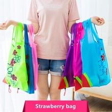 12 Uds bolsa de compras creativa bolsa de compra ecológica fresa plegable bolsos para compras reutilizables bolsas plegables de Nylon