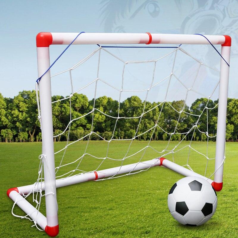 2 Teil/satz Neue DIY Kinder Sport Tragbare Kinder Fußball Fußball Ziel Net Mit ball Pumpe Kinder mini Fußball Tor Spielzeug sport
