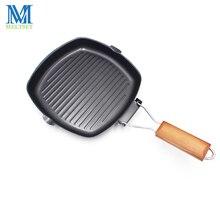 Poêle à Steak antiadhésive à fond ondulé   Poêle à omelette pour œufs, jambon machine à crêpes, cuisine petit déjeuner poignée pliante, poêle à griller