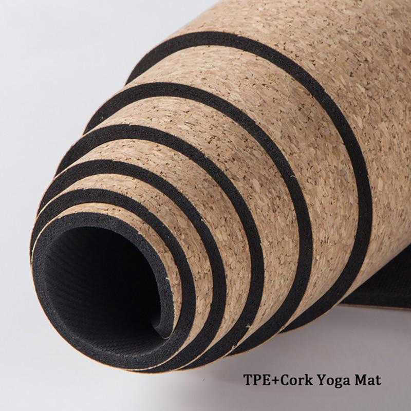 No-slip TPE + corcho colchonetas de Yoga Fitness Natural Pilates gimnasia de deporte Yoga almohadillas para hacer ejercicio estera de masaje 3MM/5MM/6MM/8MM