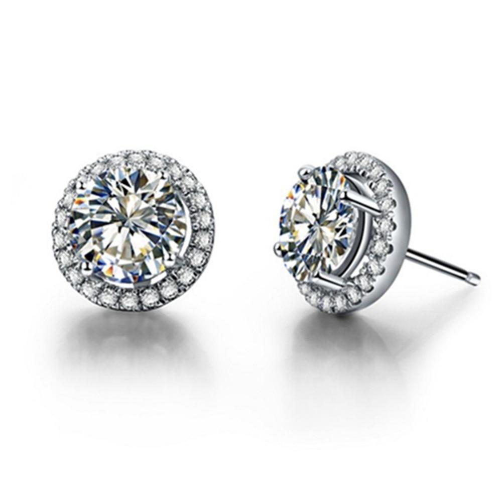 Prueba Real 1 Ct/pieza Moissanite marca Stud Halo pendientes mujeres Sterling Silver Earrings compromiso joyería pendiente Stud 925
