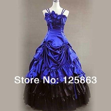 Whosale trajes de halloween lindo sem mangas chão-comprimento azul cetim aristocrat lolita vestido