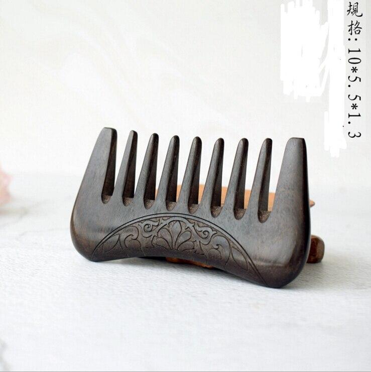 Novo bolso de madeira pente de sândalo ouro natural super largo dente pentes de madeira duplo lado gravado pequenos pentes de cabelo