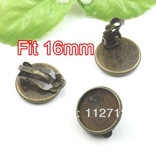 Free shipping!! 100piece bronze tone  copper bezel earring clip blank 16mm cameo base cabochon setting clip earring backs