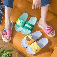 Women Summer Slippers Beach Slides Cartoon Fruits Lemon Cherry Couples Home Slippers Sandals Women Shoes Ladies Flip Flops