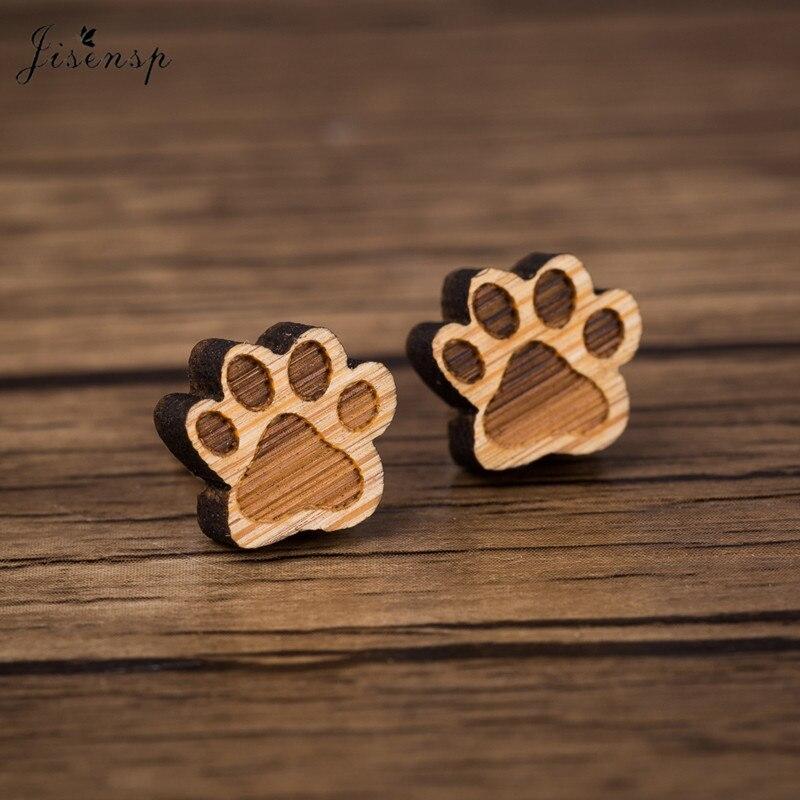 Jisensp bonitos pendientes con forma de garra pendiente con pasante de madera para niños pendiente de madera barato para mujeres regalos personalizados al por mayor