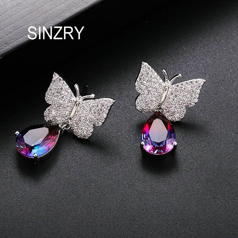 Pendientes SINZRY de circonia cúbica de cristal con forma de gota de agua mariposa caída elegante joyería de moda femenina