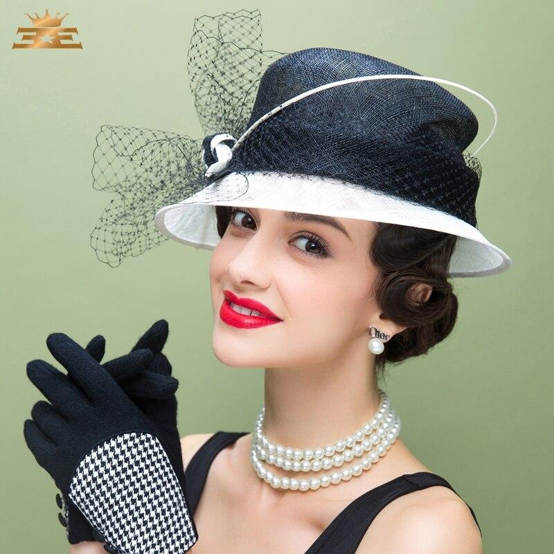 Elegante sombrero de iglesia de lino de boda para mujer con velos y flores para verano ala ancha Floppy señoras Kentucky Derby B-8187