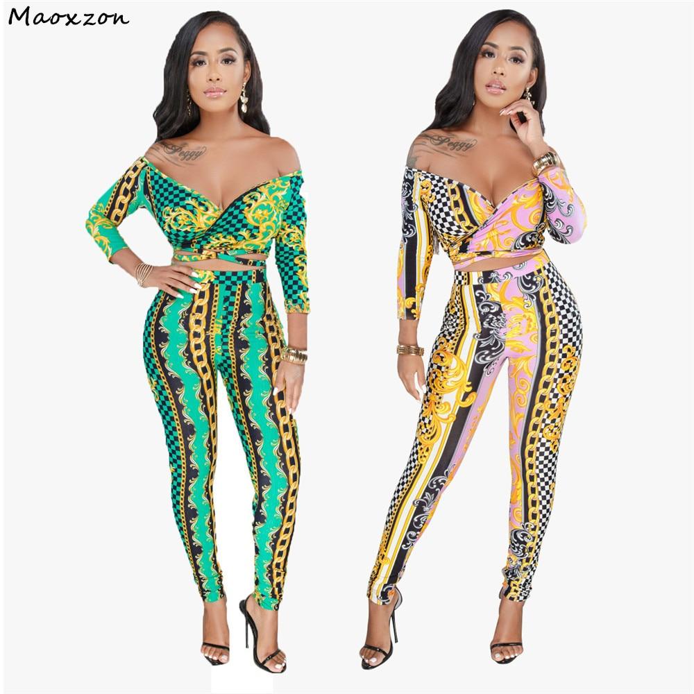 Maoxzon, 2 piezas, Tops y pantalones cortos, trajes para mujer, conjuntos de estampado con cuello en V y hombros descubiertos, vestidos sexis de talla grande XXXL para mujer