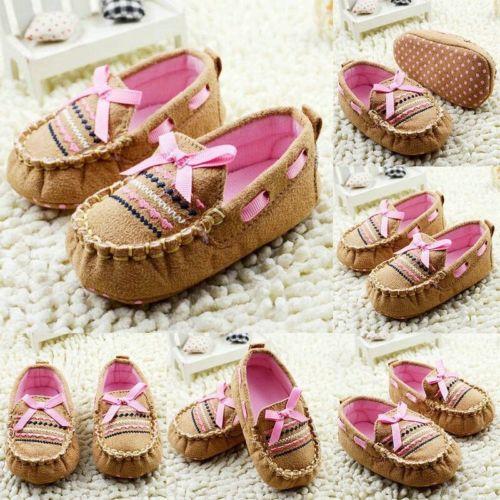 Bonitos zapatos de bebé niña con lazo, zapatos de suela blanda antideslizantes para recién nacidos, Zapatos marrón para primeros pasos 0-18M