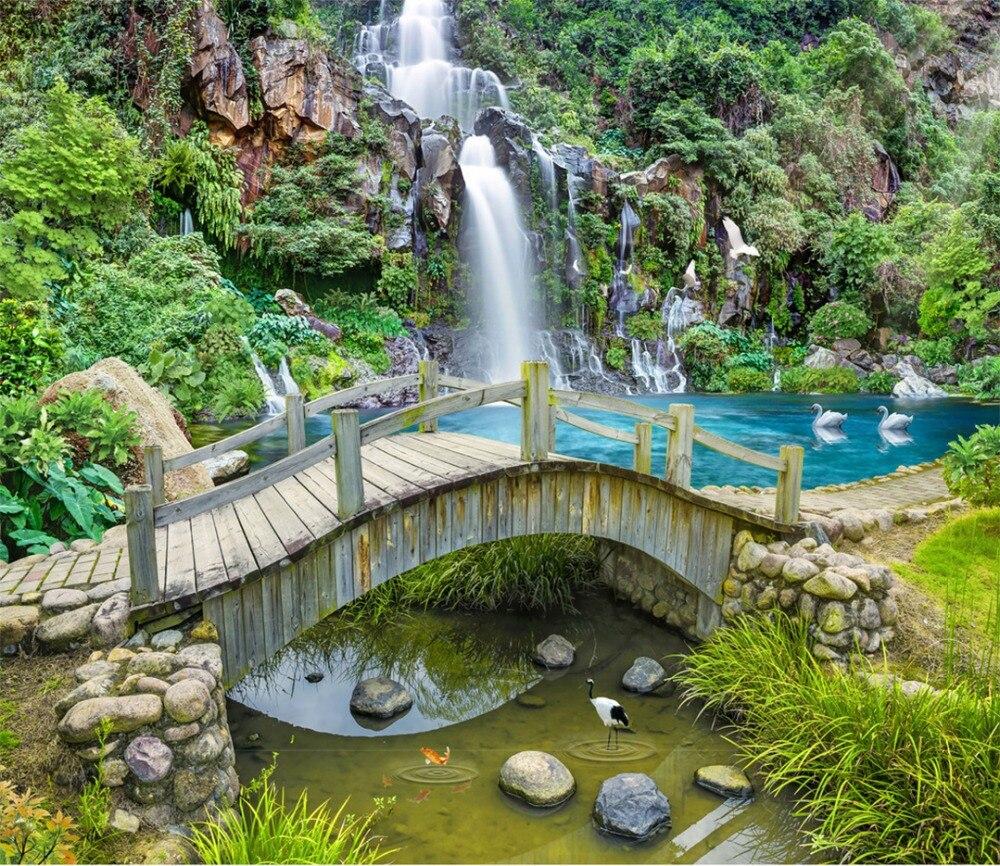На заказ любой размер росписи обоев 3D горы Весна крик мост воды Водопад пейзаж украшение стены росписи обоев