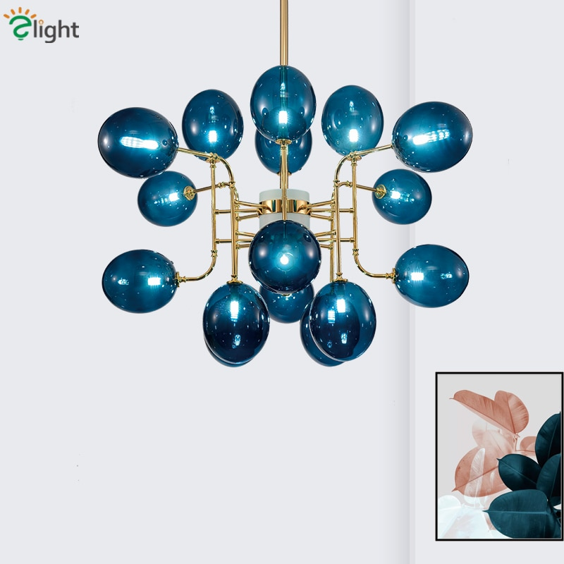 Lámpara Led G9 de lujo para sala de estar moderna, candelabro de cristal azul/esmerilado/cristales, lámparas de araña colgante Led