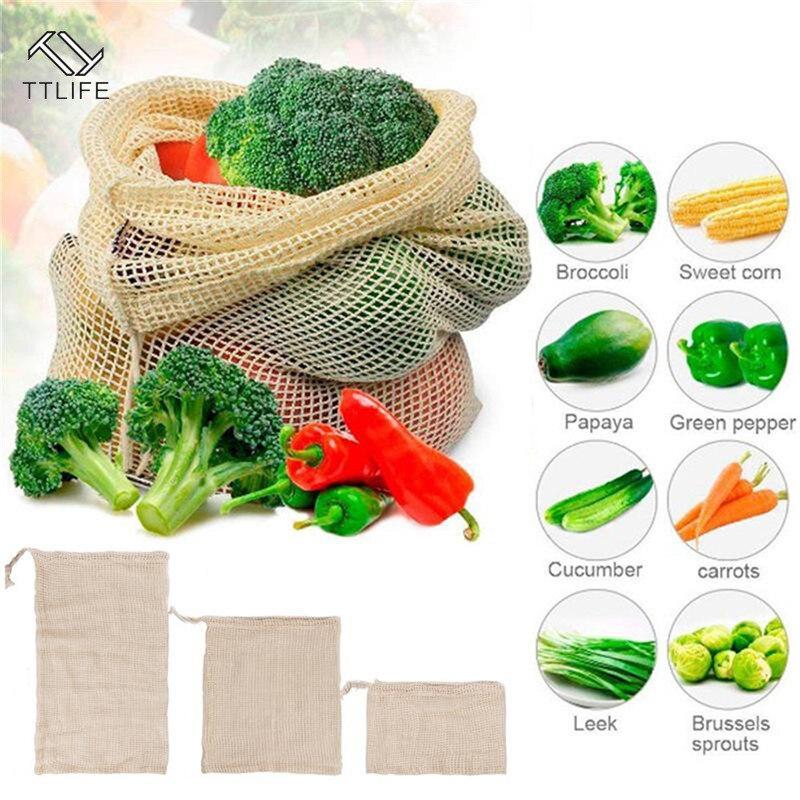 Bolsa de almacenamiento útil TTLIFE, bolsas para verduras, tela reutilizable, malla de algodón ecológico, almacenamiento de bolsas de la compra, bolsas de malla lavables para cocina y hogar