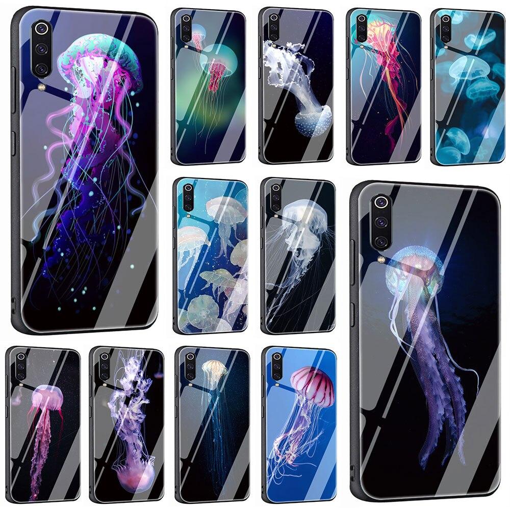 Funda de teléfono de vidrio templado See Food Jellyfish para Xiaomi Mi 8 9 Redmi 4X 6A Note 5 6 7 Pro pocofone F1 media funda completa