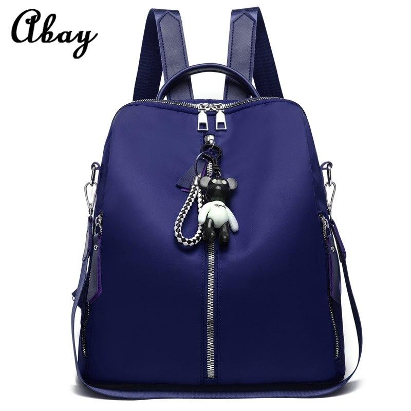 Nueva mochila universitaria azul de moda 2019, bolsa de tela de nailon informal, bolsa de estudiante femenina, mochila de viaje de gran capacidad