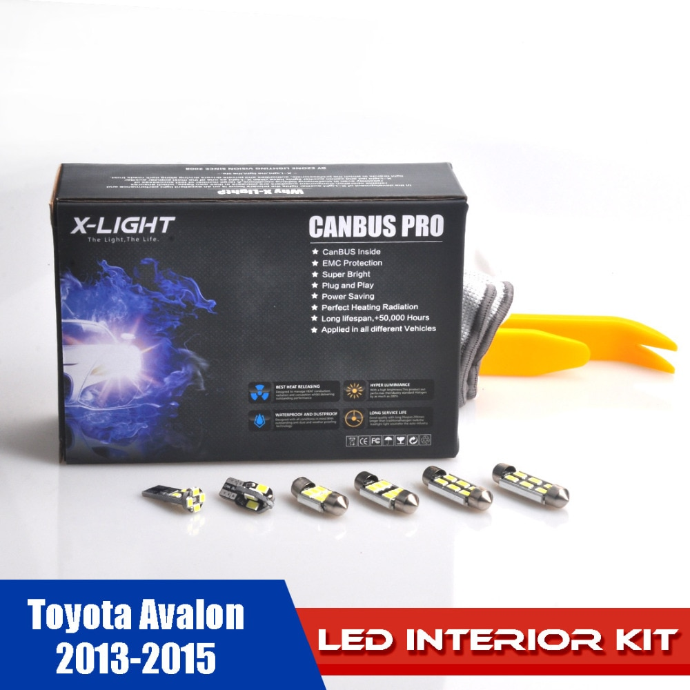 Kit de luz de lectura completa LED de xenón blanco de 12 piezas sin errores para Toyota Avalon 2013-2015 + instalación herramienta con SMD 5630