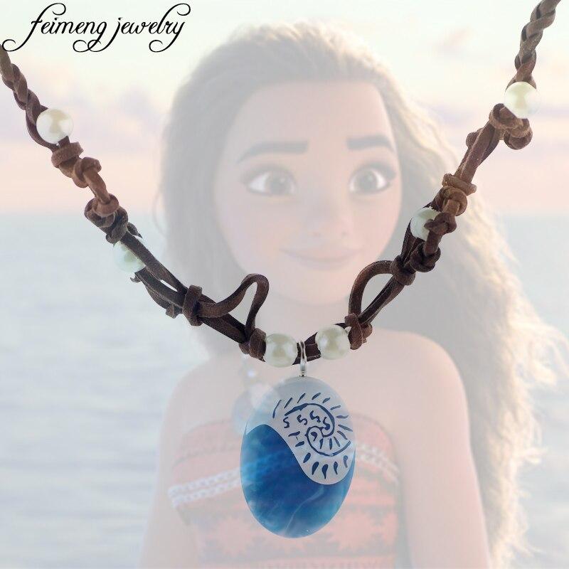 Polynesia Princess Moana Ocean Necklace Romance Rope Chain Blue Stone Te Fiti Heart Pendants Necklaces for Women Female Jewelry
