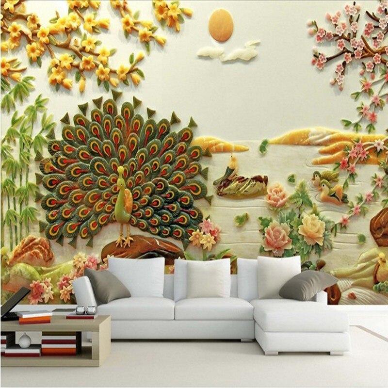 Dropship Fatman papel pintado para la foto de habitación papel tapiz Jade flor sofá TV pavo real chino 3D Stereo Mural decoración hogar Tapeta