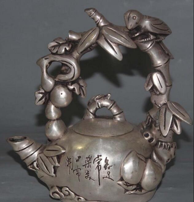 "9 ""Marcado Chino Plata FengShui cicada palabra Tetera Olla de Vino De Bambú Melocotón Estatua S0708"