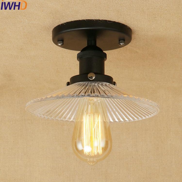 New Industrial Vintage Ceiling Lights Glass Lampshade Loft Ceiling Lamp Fixtures Home Lighting Lamparas De Techo Avize Luminaire