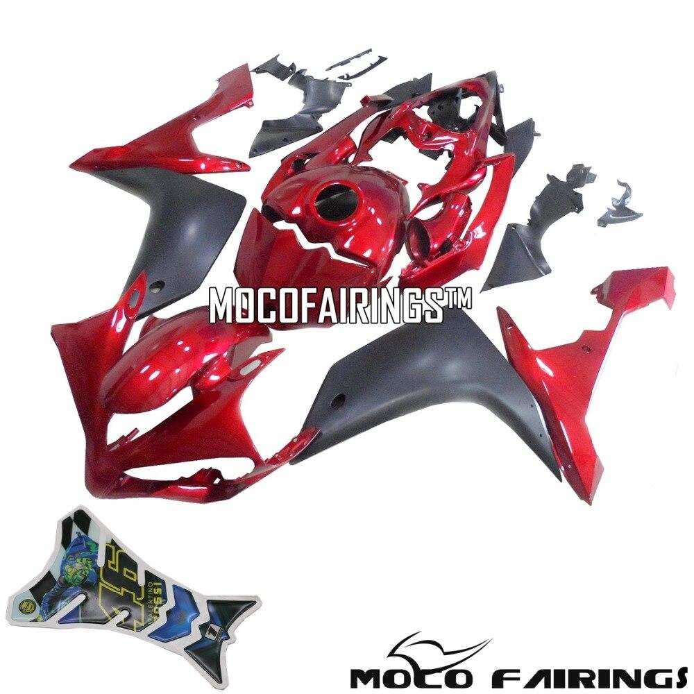 Envío Gratis carenados para Yamaha YZF R1 2007 2008 07 08 ABS Kit de carenado de motocicleta funda de carrocería rojo y negro mate