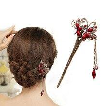 Vrouwen Elegante Dubbele Vlinders Bobby Pin Mode Haarspeld Strass Haar Stok NIEUWE VERKOOP