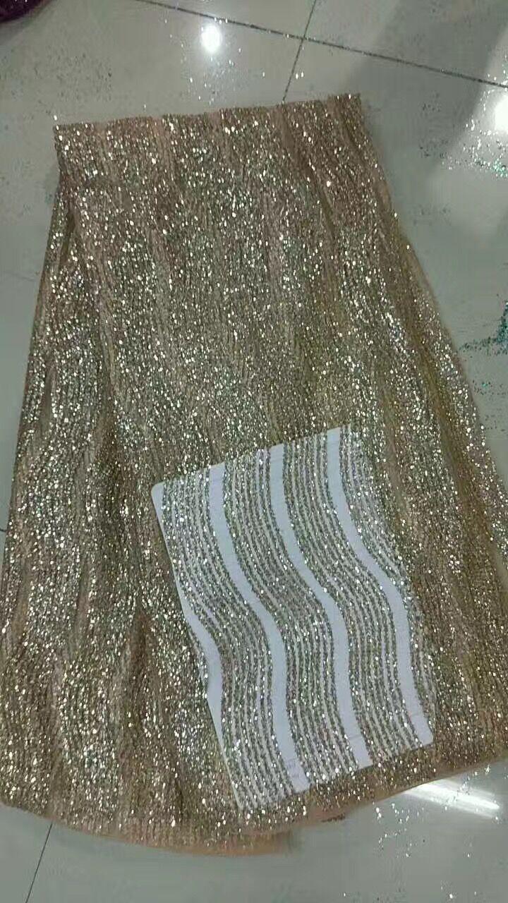 2017 Ouro Champanhe Tule Francês Glitter Lace Tecido Para Vestido de Noiva Tecido de Renda Nigeriano Com Lantejoulas