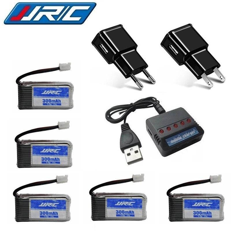 Lipo conjunto de carregador de bateria para jjrc h56 3.7v 300mah para jjrc h56 t2g zangão bateria rc quadcopter peças reposição lipo bateria 5 unidades/lotes