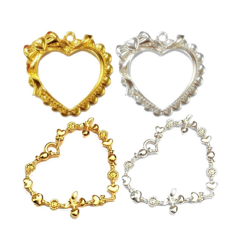 5 uds colgante corazón adorable bisel joyería accesorios de colgantes DIY hecho a mano UV resina Kawaii lazada de Princesa marco de Metal del corazón