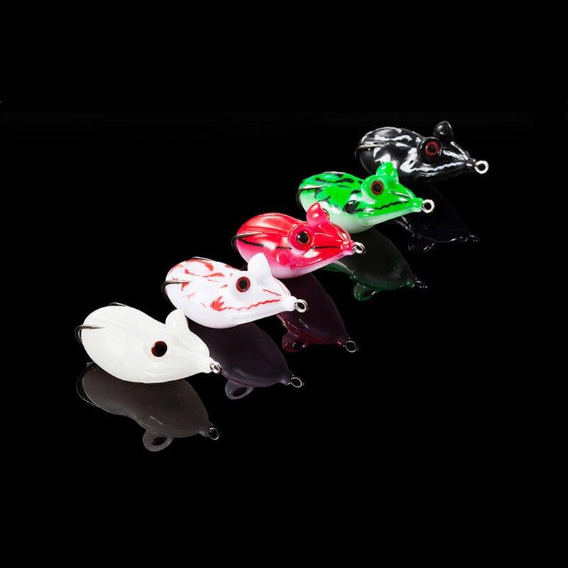 30pcs/lot Frog Lure Soft Lures 5 color 14g 4.5cm Artificial Fishing Bait 3D Eyes Topwater Wobbler Bait For Pike Snakehead ER007