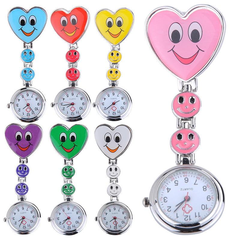 7 cores enfermeira relógio de bolso simples mini relógio adorável coração sorriso rosto com enfermeiros médicos relógios quartzo alta qualidade