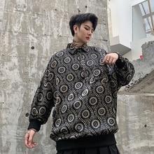 Men Vintage Pattern Print Bat Sleeve Satin Style Pullover Shirt Male Streetwear Loose Causal Shirts