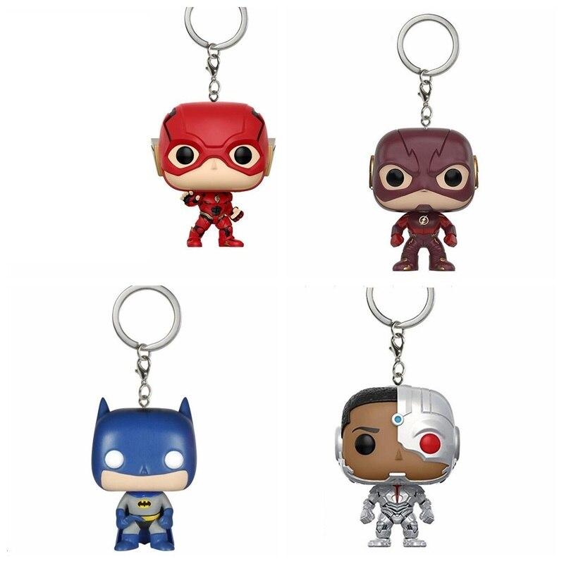 LLavero de la Liga de la justicia-Batman Aquaman Flash y Cyborg acción llavero con figura juguete de modelos coleccionables
