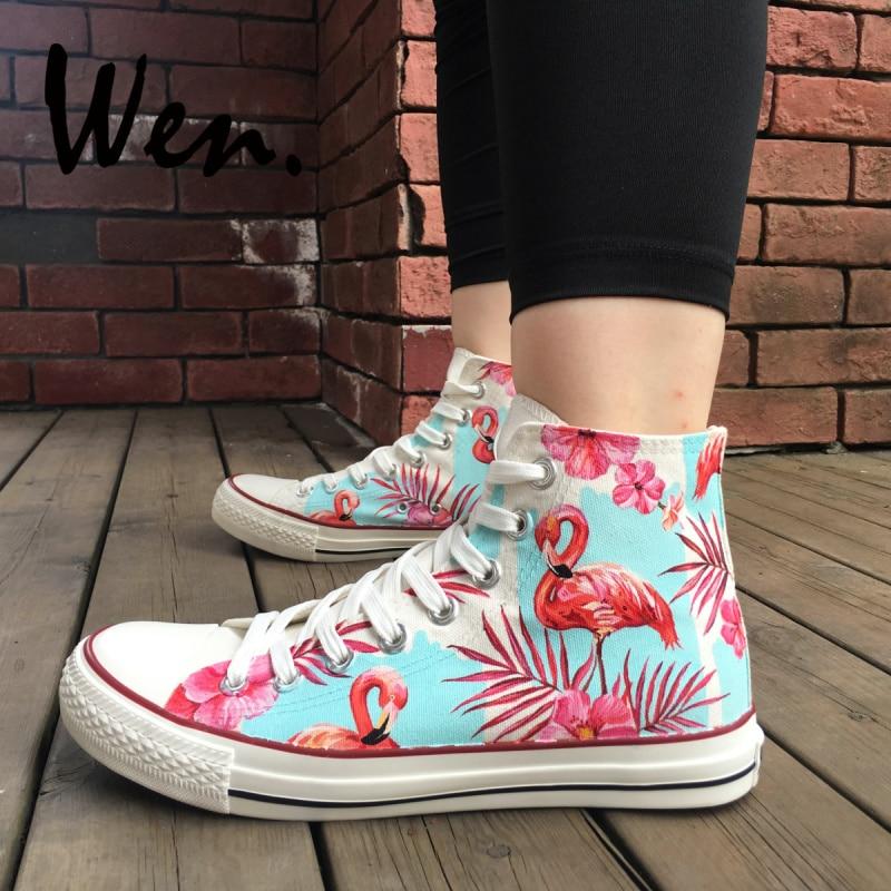 Вэнь ручная роспись обувь для скейтбординга дизайн флуоресцентные розовые Фламинго Пальмовые Листья цветы высокие холщовые кроссовки уни...