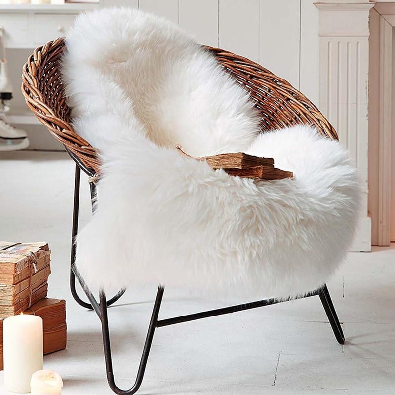 Faux Wool Leather Sofa Carpet Mat Natural Sheepskin Wool Cushion Bay Window Cushion Living Room Bedroom Blanket CF